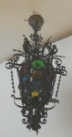 Iron lantern with colored glass