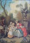 Nicolas Lancret - A lady serving chocolates to children in the garden, copy