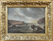Antonio Marini - Sea coast with boats and figures