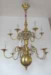 Two storey bronze chandelier with applications
