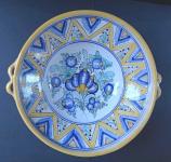 Folk ceramic bowl with handles