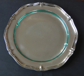 Large round silver tray with glass