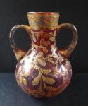 Pink gilded glass vase - amphora