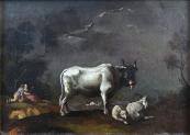 Langmayer - Cowherd boys and girl with a bull, goa