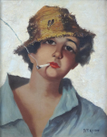 D. Meller T. - Portrait of a young man in a hat with a cigarette