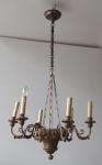 Biedermeier wooden chandelier with chain