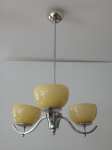 Chandelier with three bowls of yellow glass