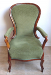Armchair with green upholstery - Second Rococo