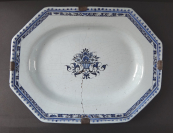 Faience bowl with flower basket