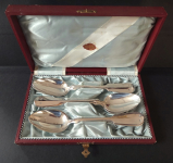 Silver spoons in a box