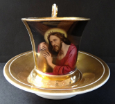 Cup with painted miniature of Christ