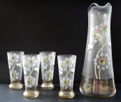 Jug and four glasses - Dandelions and bees