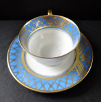 Cup with blue belt and gilded lattice - Brühwiler