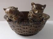 Two cats in a wicker basket - Bronze