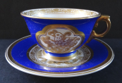 Blue cup with gilded relief - Rosenthal