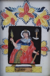 Glass painting with St. Barbara