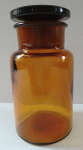 Glass pharmacy glass container made of brown glass