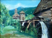 L. Makovec - Wooden church with watermill