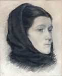 Lev Lerch - Portrait of a woman in a scarf