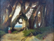 Woman with a basket under the canopies of ancient oaks