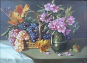 Vaclav Hlavsa - Still life with grapes and flowers