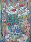 Monogram E. Z.- Daffodils and tulips in a vase