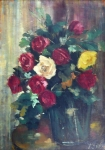 Bouquets of roses in a vase