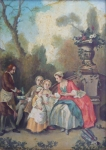 Nicolas Lancret - A lady serving chocolates to children in the garden, copy