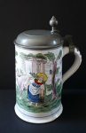 Faience tankard with a shepherdess