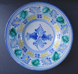 Plate with blue and green flowers