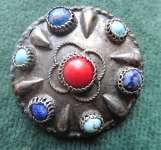 Brooch silver beaten with stones