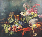 Vladimir Kliment - Still life with fruit, flower and lobster