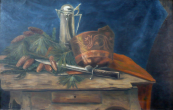 Salasek - Still life with hunting knife