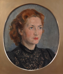 Portrait of woman in oval
