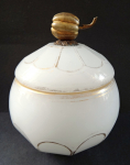 Sugar bowl of alabaster glass
