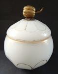 Sugar bowl of alabaster glass