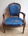 Rococo style Armchair - Blue upholstery