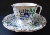 Cup with saucer with blue flowers - Chodau