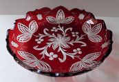 Flat bowl of clear and ruby glass - Art deco