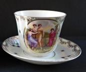 Big cup with saucer, crack - Karlsbad
