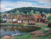 Vaclav Fiala - Village near the pond, with ducks
