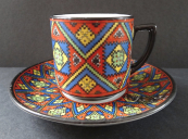 Coffee cup with textile pattern