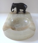 Marble ashtray with bronze elephant
