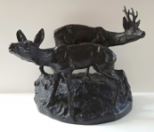 Sculpture of a roebuck with doe - Frantisek Rous younger