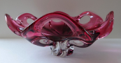Bowl of clear and pink blown glass