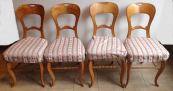 Four chairs in cherry veneer - Biedermeier