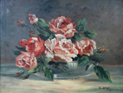 K. Hellig - Bouquet of roses in a bowl
