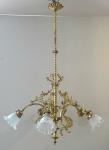 Historicist brass chandelier with bells