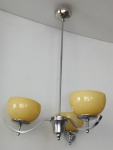 Chrome chandelier with three yellow bowls