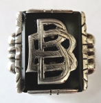 Silver ring with monogram and onyx